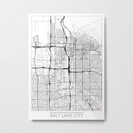 Salt Lake City Map White Metal Print