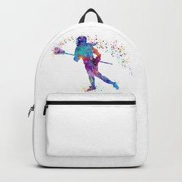 Girl Lacrosse Colorful Watercolor Sports Art Backpack