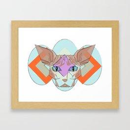 Geometric Hairless Cat Framed Art Print