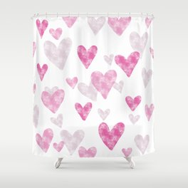 Pink Heart Confetti Shower Curtain