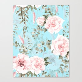Blush Watercolor Spring Florals On Teal Canvas Print