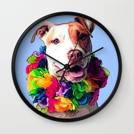 Dog in Flowers Wall Clock
