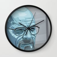 walter white Wall Clocks featuring Walter by Digital Sketch
