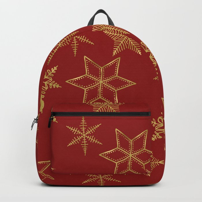 Snowflakes Red And Gold Backpack