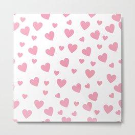 Hearts pattern - pink Metal Print
