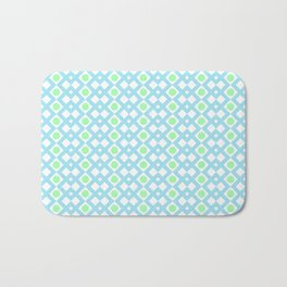 Geometric Pattern - Diamonds and Dots - Turquoise & Green Bath Mat