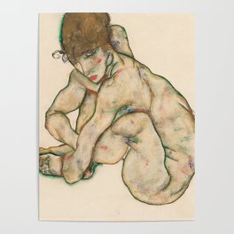 "Egon Schiele ""Crouching nude girl"" Poster"