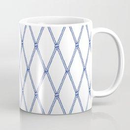 Nautical Fishing Net (White and Navy) Coffee Mug
