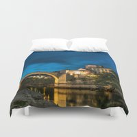 islam Duvet Covers featuring Mostar at night by Fatih