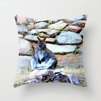 kangaroo Throw Pillows featuring Kangaroo by Raffaella315