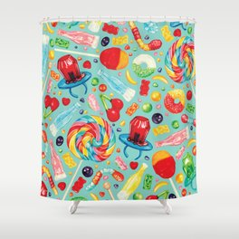 Candy Pattern - Teal Shower Curtain