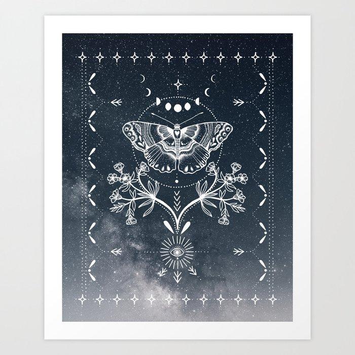 Magical Moth White Kunstdrucke