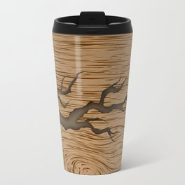 crack in the tree cracked piece of wood with shadow and texture Travel Mug