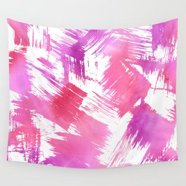 Hand painted pink purple watercolor brushstrokes pattern Wall Tapestry