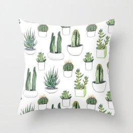 Watercolour Cacti & Succulents Throw Pillow