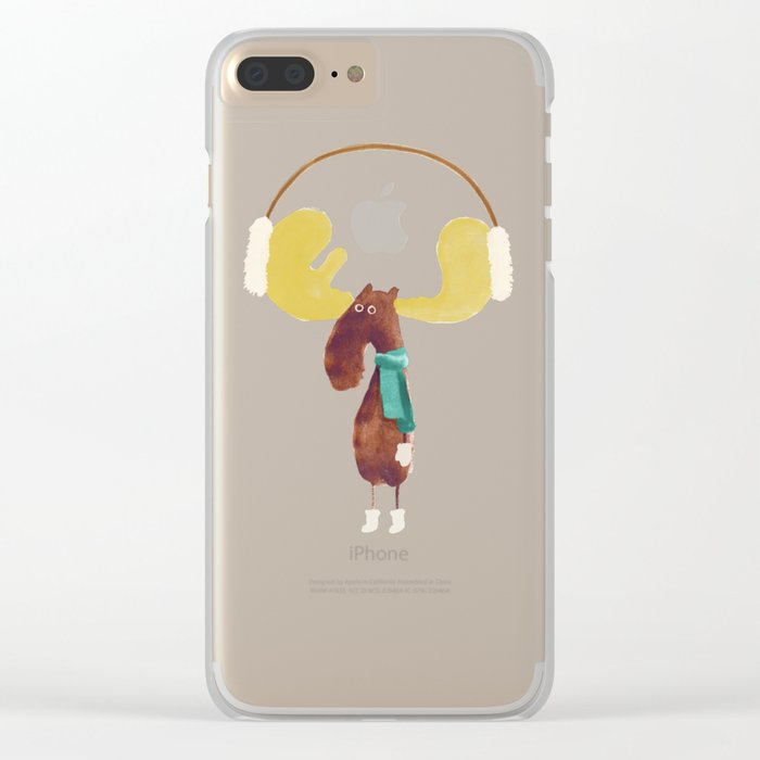 This moose is ready for winter Clear iPhone Case