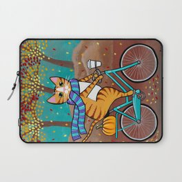 Autumn Fat Cat Bicycle Ride Laptop Sleeve