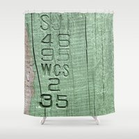 code Shower Curtains featuring Code  by Ethna Gillespie