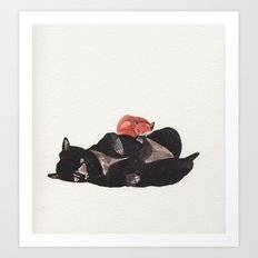 Sleeping Fox and Bear  Art Print