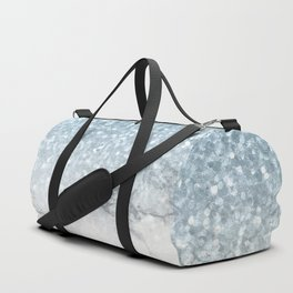 Sea Mermaid Blue Glitter Marble Duffle Bag