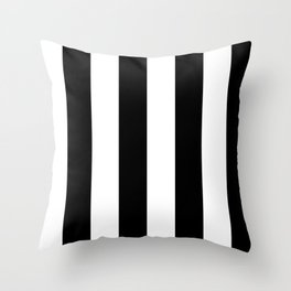 Black and White | Vertical Large Stripes Throw Pillow