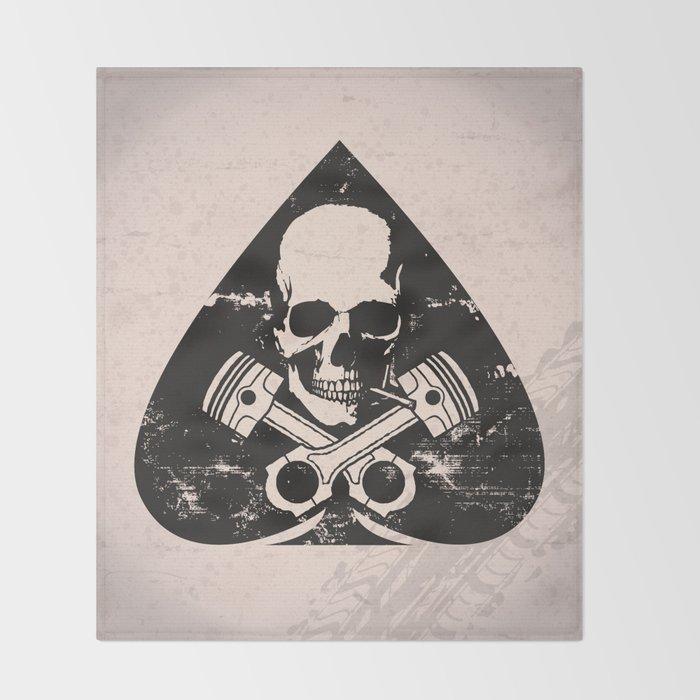 Grunge ace of spades Throw Blanket