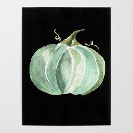 Blue Watercolor Pumpkin on Black Poster
