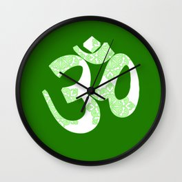 Start your day with OM on Green Colour Wall Clock