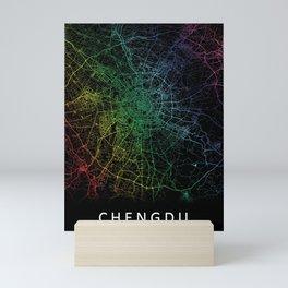 Chengdu, Sichuan, China, City, Map, Rainbow, Map, Art, Print Mini Art Print