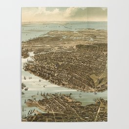 Vintage Pictorial Map of Norfolk Virginia (1892) Poster