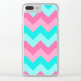 Hot Pink Turquoise Aqua Blue Chevron Zigzag Pattern Print Clear iPhone Case