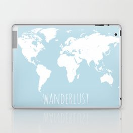 World Map - Wanderlust Quote - Modern Travel Map in Light Blue With White Countries Laptop & iPad Skin