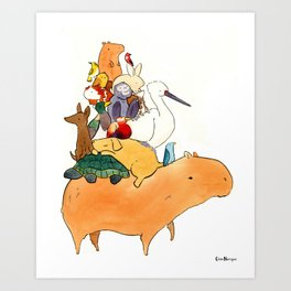 Animals on a Capybara Art Print