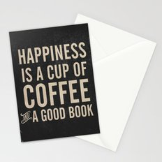 Happiness is a cup of coffee and a good book, vintage typography illustration, for libraries, pub Stationery Cards