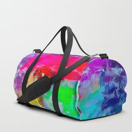 red rose with pink purple blue green yellow painting abstract background Duffle Bag