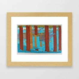 Camo Whale Forest Framed Art Print