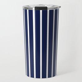 Navy Blue and White Vertical Stripes Pattern Travel Mug