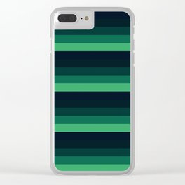forest Green stripes Clear iPhone Case