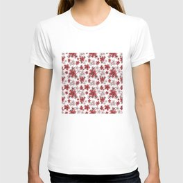 Red flowers on a white background. T-shirt
