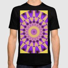 Bold Purple and Yellow Mandala MEDIUM Black Mens Fitted Tee