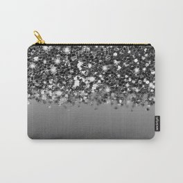 Black & Gunmetal Gray Silver Glitter Ombre Carry-All Pouch