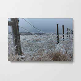 Kansas Icy Fence Metal Print