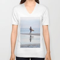 surfer V-neck T-shirts featuring Surfer by Love the Shoot