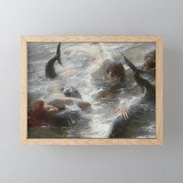 "Classical Masterpiece ""Mermaids"" by Benes Knupfer, circa 1890 Framed Mini Art Print"