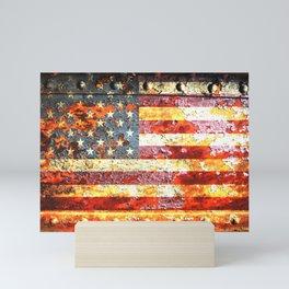 American Flag On Rusted Riveted Metal Door Mini Art Print