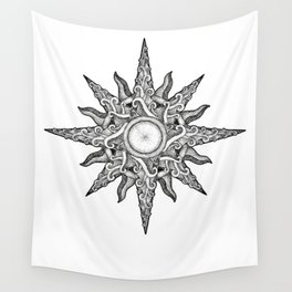 Surf in a Windrose – Compass (tattoo style) Wall Tapestry