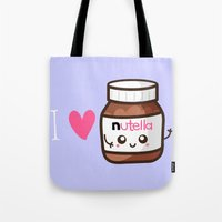 nutella Tote Bags featuring Love Nutella by Kleviee