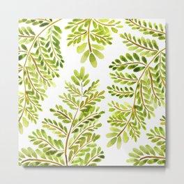 Tropical Green Fern Leaves Metal Print