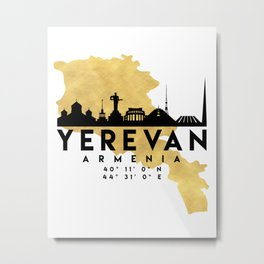 YEREVAN ARMENIA SILHOUETTE SKYLINE MAP ART Metal Print