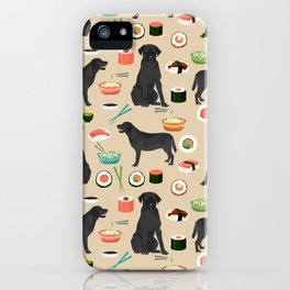 black lab sushi cute funny dog breed pet pattern labrador retriever iPhone Case